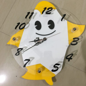 Yellow colour penguin theme wall clock online for kids